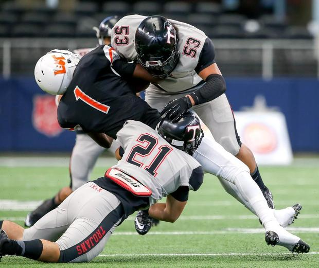 Running game, two late scores help Euless Trinity top Lancaster