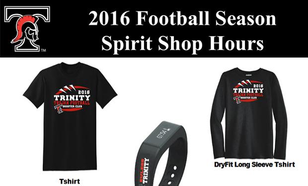 2016 Football Season Spirit Shop Hours