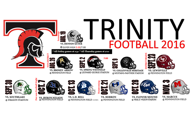 Our 2016 Trinity Football Schedule